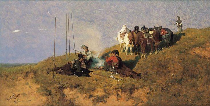 "Jozef Brandt ""Cossack Patrol by a Bonfire"""
