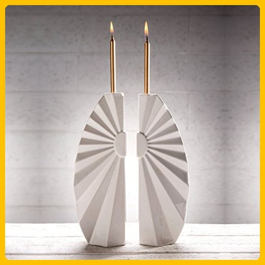 Pair of Handmade Shabbat candlesticks,Geometric modern Judaica - Wedding candles and holders (*Amazon Partner-Link)