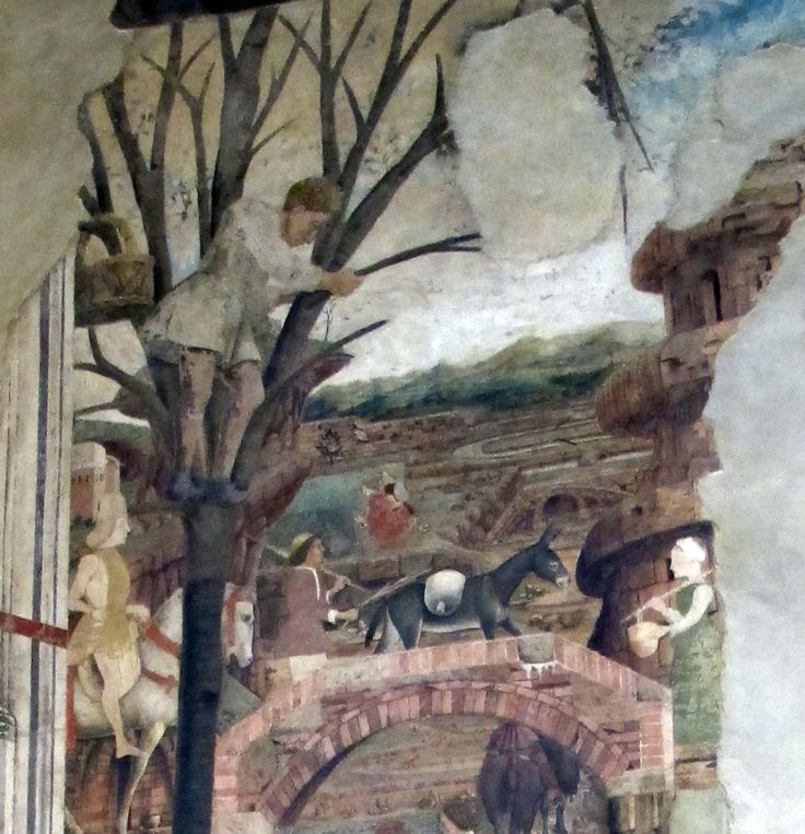 Man in tree. Detail from May's scene from the life of Borso d'Este. Salone dei Mesi, Palazzo Schifanoia.