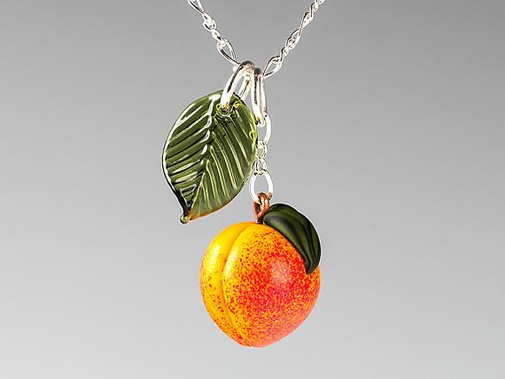 Glass Peach Necklace ADJUSTABLE LENGTH Peach fruit lampwork by GlassBerries on Etsy