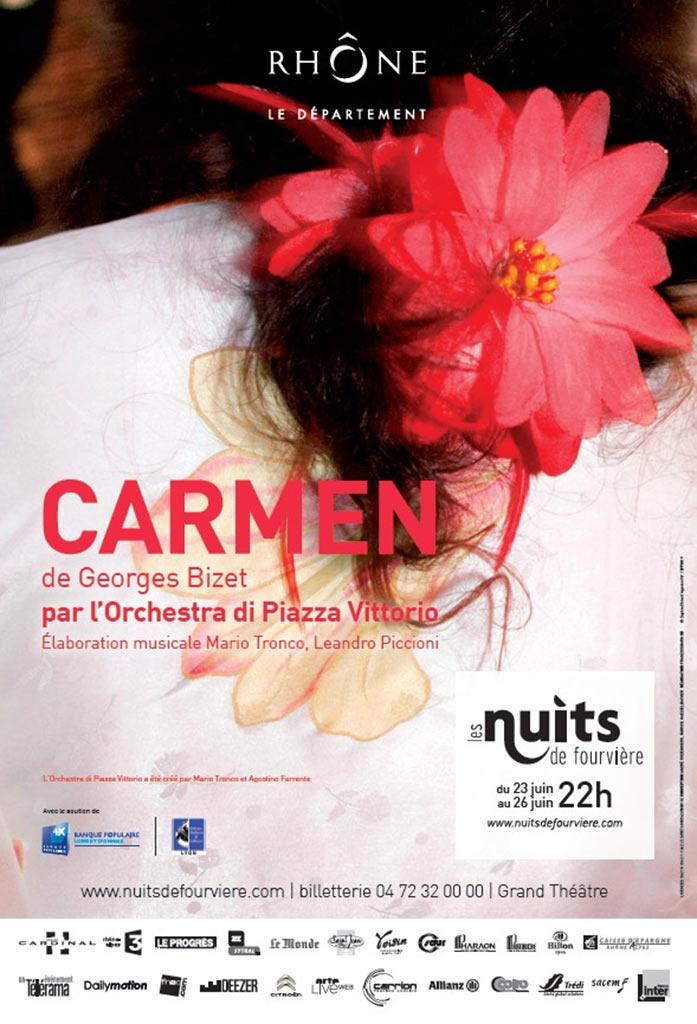 Dans le cadre des Nuits de Fouvière, redécouvrez Carmen, l'opéra de Bizet revisité par l'Orchestra di Piazza Vittorio. Du 23 au 26 juin 2013. http://www.nuitsdefourviere.com/