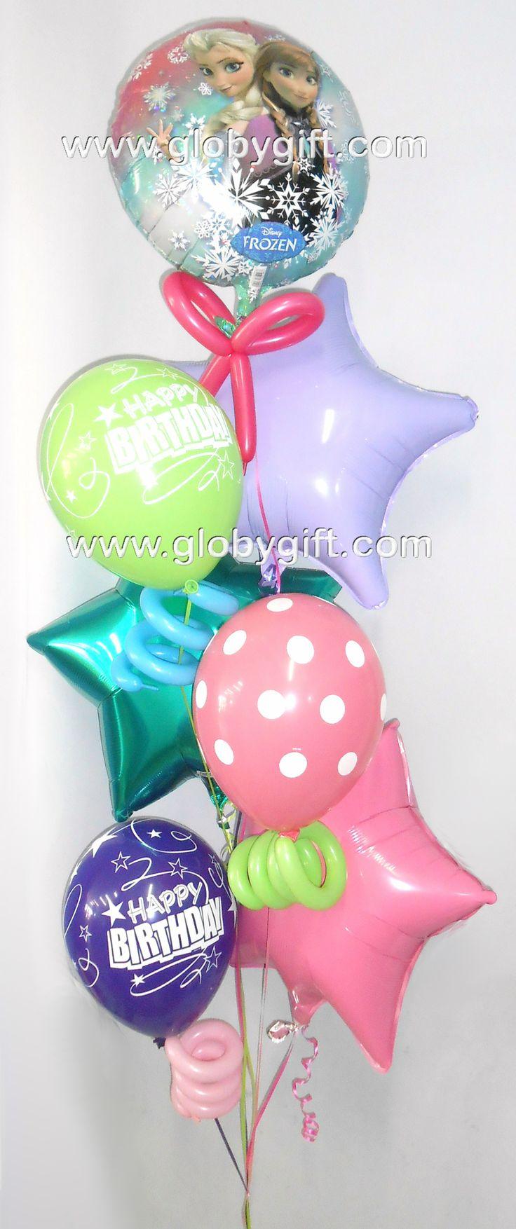 Para los que aman Frozen, bouquet de globos con helio de Frozen