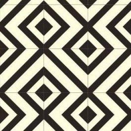 Black and White Vinyl floor, tile effect. diamond pattern, chevrons