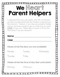 EDITABLE FREEBIE - Back to School Parent Helper Form