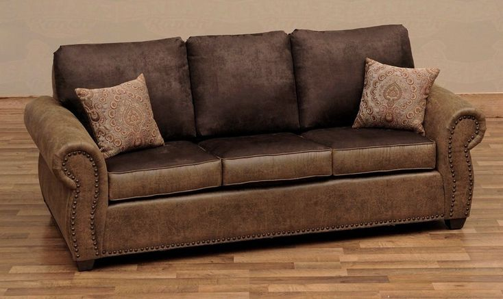 Burly Collection Leather Upholstered Queen Sleeper Sofa By