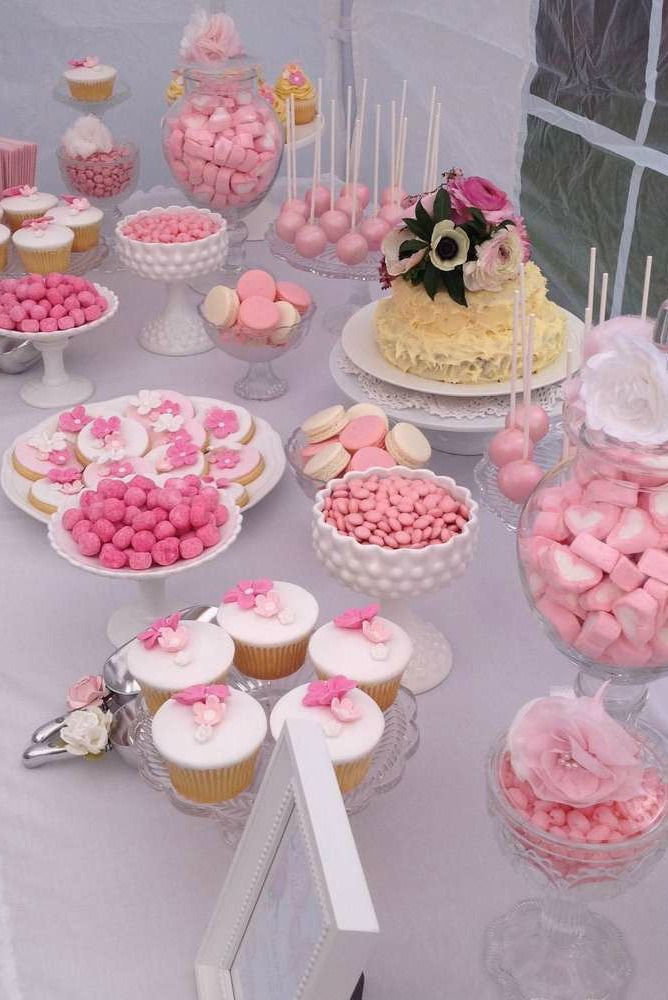 Shabby chic Bridal Shower Party dessert table!  See more party planning ideas at CatchMyParty.com!