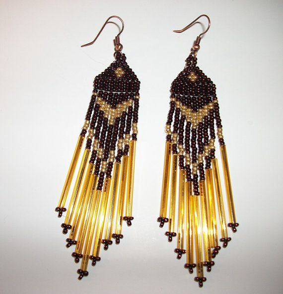 Seed Bead Earrings Copper  Gold  Native America by LynnWilsJewelry