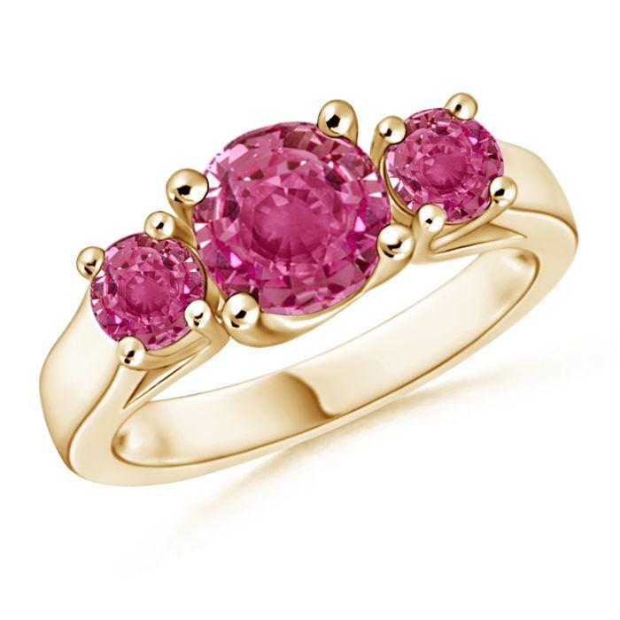 Angara 5mm Three Stone Round Pink Tourmaline Ring in Yellow Gold by88QE