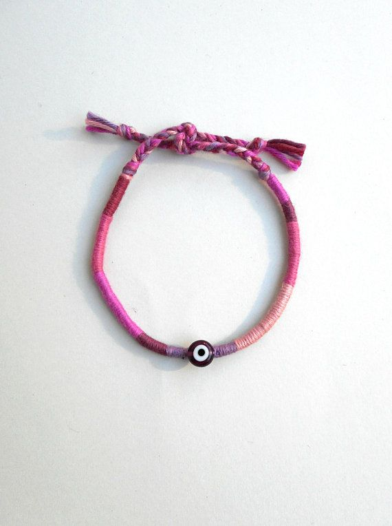 Friendship bracelet with evil eye bead, Cotton bracelet, Pink shade, Girlfriend gift, DMC embroidery floss, Stacking jewelry, Ethnic jewelry