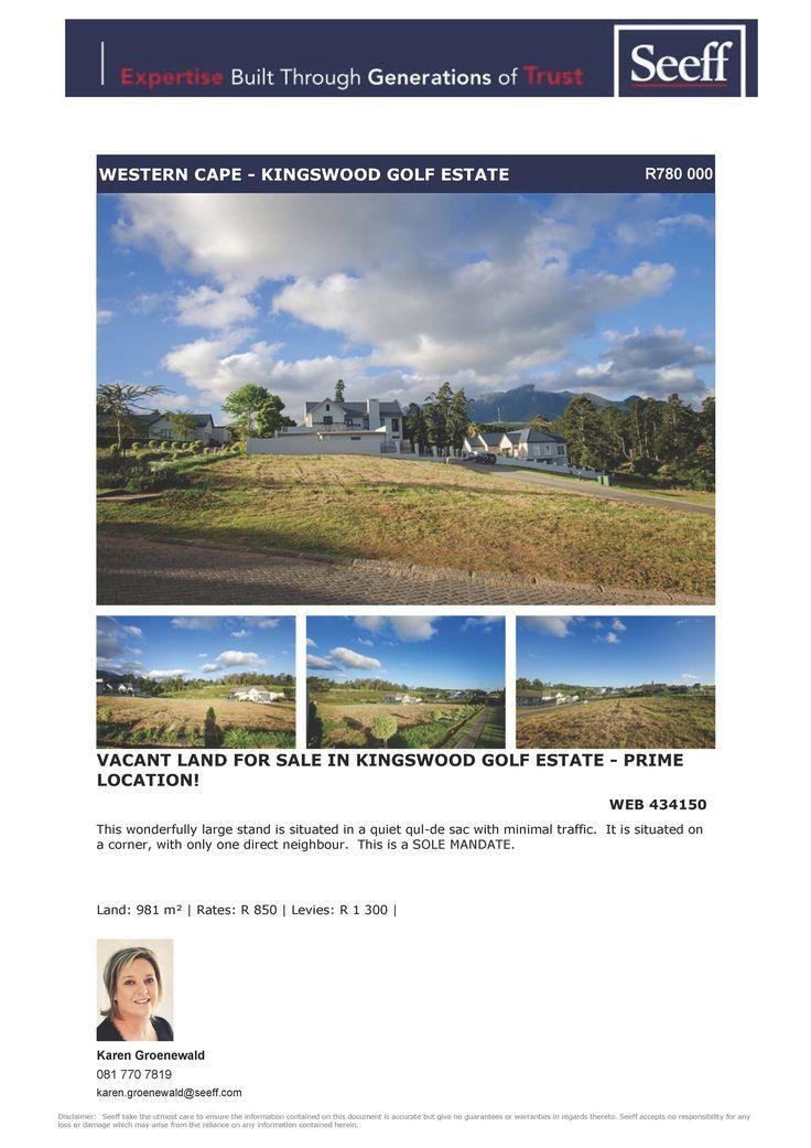 #seeff #newlisting #vacantland #golf #estate #forsale #property #george #gardenroute #westerncape  Vacant Land for Sale in Kingswood Golf Estate - Prime Location! www.seeff.com/Details?webref=434150  Karen Groenewald 081 770 7819