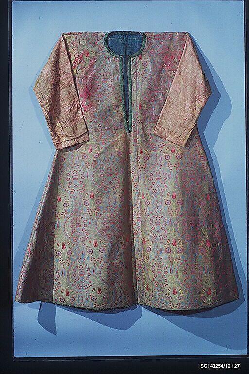 Coat Date: late 16th century Geography: Turkey, Bursa Medium: Silk, metal Dimensions: Textile: H. 65 in. (165.1 cm) W. 53 in. (134.6 cm)