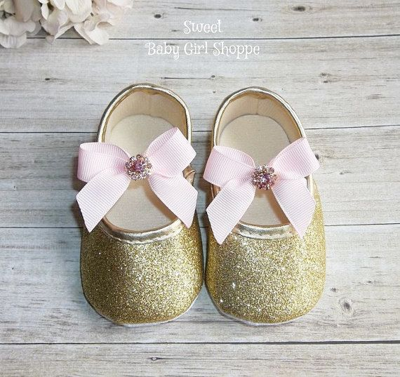 Pink and Gold Baby Shoes  Pink and Gold by SweetBabyGirlShoppe