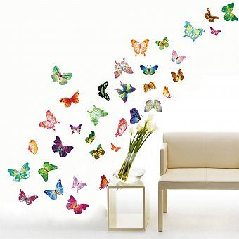 Muursticker mooie kleurrijke vlinders