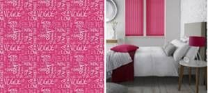 Pink blinds from Style Studio. Vertical blinds. Bedroom blinds. Contemporary pink colour inspiration for the home. Decorating with pink. 2018 home interiors trends. Colour pop. Neon jungle colour trend. Magenta.
