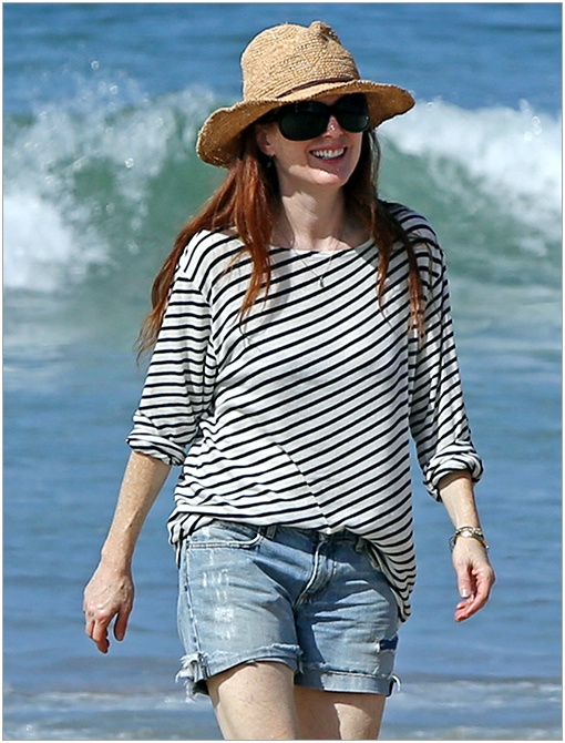Celebrities on Vacations Style . Julianne Moore in stripped long sleeve T.