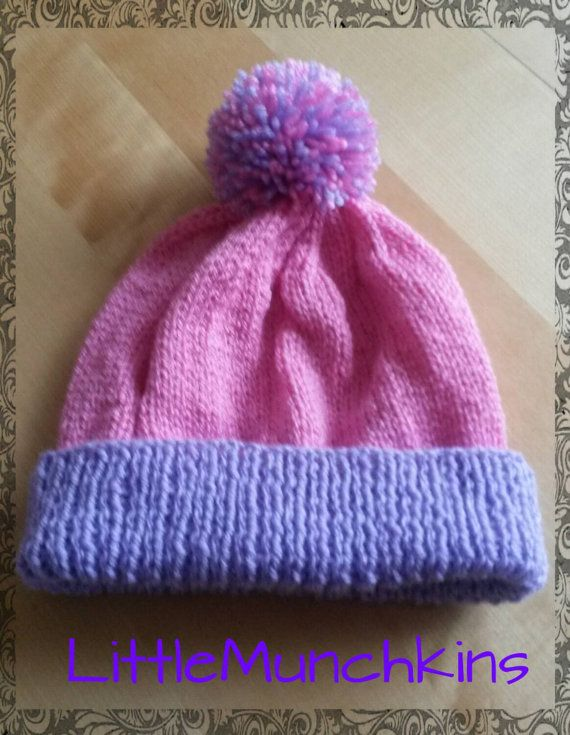 Knitted lilac purple and pink bobble hat by LittleMunchkins1981