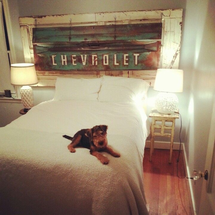 Reclaimed tailgate/door headboard & welsh terrier diy bedroom home decor salvaged teal rust