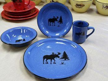 Rustic Pioneer Stoneware Dinnerware Set - Moose and Tree Silhouette & 36 best Rustic Dinnerware images on Pinterest | Rustic dinnerware ...