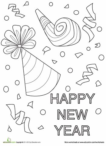 Worksheets: New Year's Coloring Page