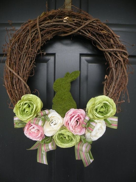 Easter Wreath -- twig wreath, spray paint and speckle eggs, burlap ribbon, mini easter banner, moss