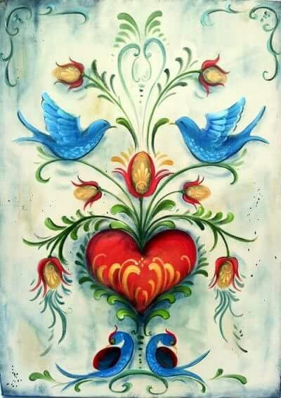 Artwork (not named) with bluebirds, flowers, and red heart.