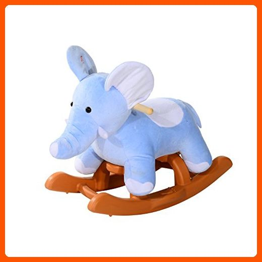 Qaba Kids Plush Rocking Horse-Style Elephant Theme Rocker Chair - Toys for little kids (*Amazon Partner-Link)