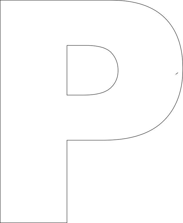 Free Printable Upper Case Alphabet Template: P - Free Printable Upper Case Alphabet Template