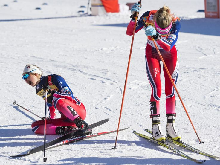 Winner Ingvild Flugstad Oestberg, left, reacts after beating second placed Therese Johaug, right, both of Norway during the women's five-kilometer cross country skiing pursuit world cup race as part of the Tour de Ski in Lenzerheide, Switzerland. Gian Ehrenzeller, Keystone, via AP