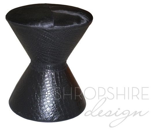 Black Leather & Cowhide Hourglass Stool down stairs WC