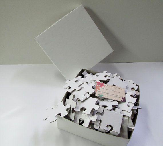 Guest Book Puzzle 200 large pieces. with photo or white  Unique Guest Book / White Blank Puzzle Pieces / Alternative Guestbook  Sign In Book#wedding #gastenboek #bruiloft  www.bijnatrouwen.nl