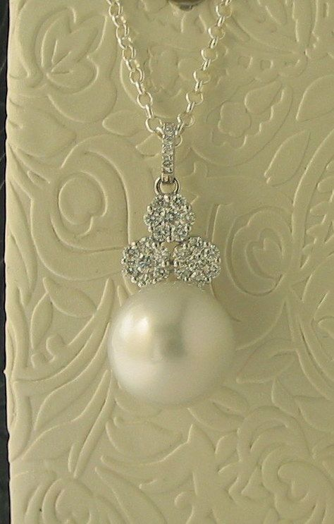 18ct White Gold 13mm South Sea Pearl and Diamond (0.56ct) Pendant - $4,200-