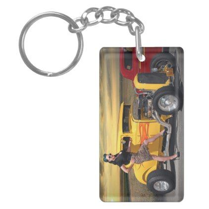 Sunset Graffiti Hot Rod Coupe Pin Up Car Girl Keychain - girl gifts special unique diy gift idea