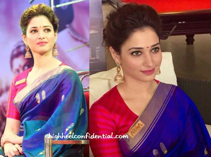 For the audio launch of her movie, Tamannaah picked a Raw Mango sari. Wearing the indigo and gold sari with a striped pink blouse, she finished out the look with an updo, Amrapali jewelry and a bindi. There's not one thing I'd change about this look; the actor looked lovely! Tamannaah At Baahubali Malayalam Audio …
