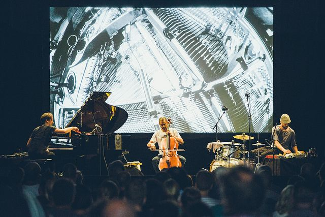 H K Z (Volker Bertelmann, Samuli Kosminen, Jeffrey Zeigler) at Flow Festival 2014. Photo by Samuli Pentti.