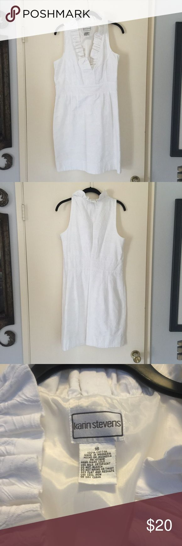 Women's white dress Women's white dress. Says size 16 but fits a size 12/14 nicely. Karin Stevens Dresses