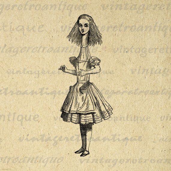 Printable Graphic Tall Alice from Alice in Wonderland Digital Download Image Vintage Clip Art Jpg Png Eps Print 300dpi No.1299 @ vintageretroantique.etsy.com #DigitalArt #Printable #Art #VintageRetroAntique #Digital #Clipart #Download