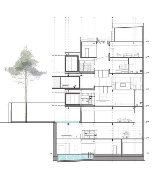 Uneindeutigkeit und Flexibilität: Die Leitbilder des Entwurfsprozesses wurden beim Einfamilienhaus von nextoffice raffiniert umgesetzt und verleihen dem Baukörper eine raumgreifende Dynamik.