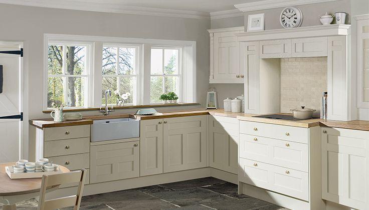 Slate Effect Tiles Cream Doors Oak Effect Work Top