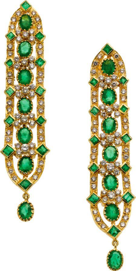 Emerald, Diamond, and Gold Earrings