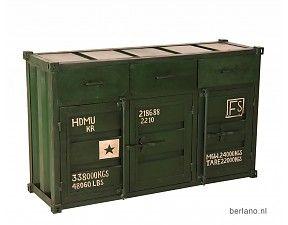 Kast container look - Dressoir T09 Groen