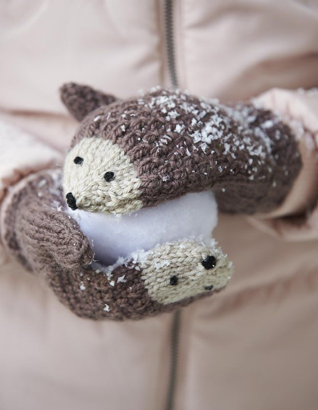 Learn how to DIY the cutest knit hedgehog mittens for kids.