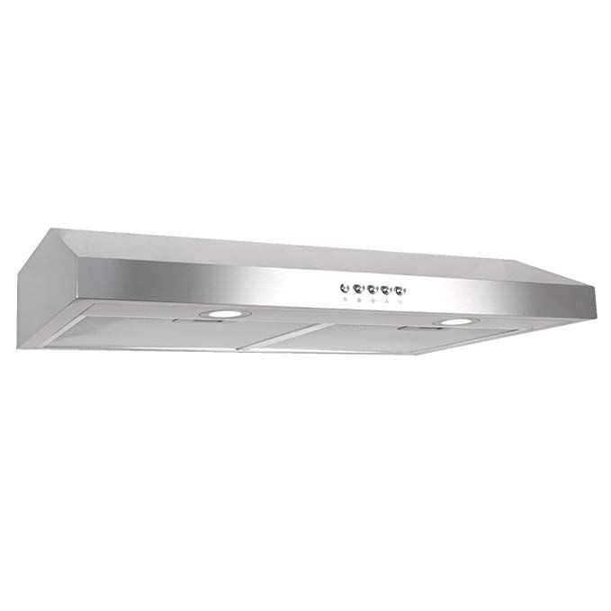 Cosmo 5u30 30 Under Cabinet Range Hood 3 Speed Kitchen Fan 250 Cfm Vent Convertible To Duct Less Reusable Range Hood Stove Vent Under Cabinet Range Hoods