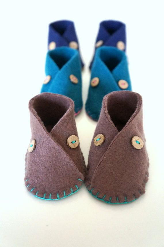 Baby Fleece Moccasin Shoes Baby Booties Autumn Colors Chocolate Brown Teal Baby Shower Gift