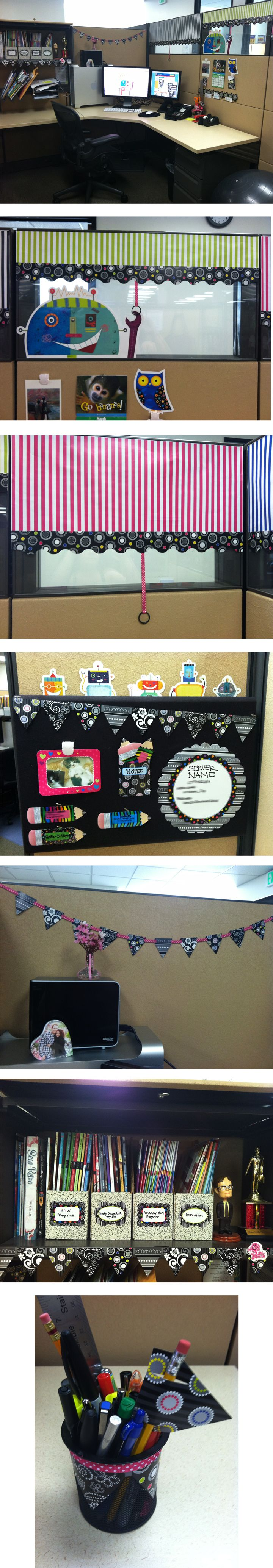 office cubicle organization. My Cube At Work. Decorated With Creative Teaching Press\u0027s New BW Collection And Robots. Office CubicleOffice DeskThe OfficeOrganized Cubicle Organization