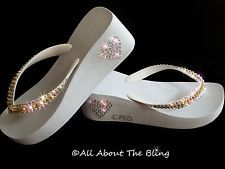 Havaianas flip flops or Wedge using Swarovski Crystals OPTIONAL INITIALS Bridal
