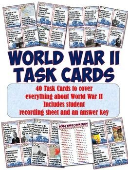This is a fantastic set of 40 Task Cards to cover everything related to World War II! Each page includes 4 beautiful cards to engage students. These can be cut up and placed around the room, given to groups at a table, or gone through individually to cover all the different aspects of World War II.