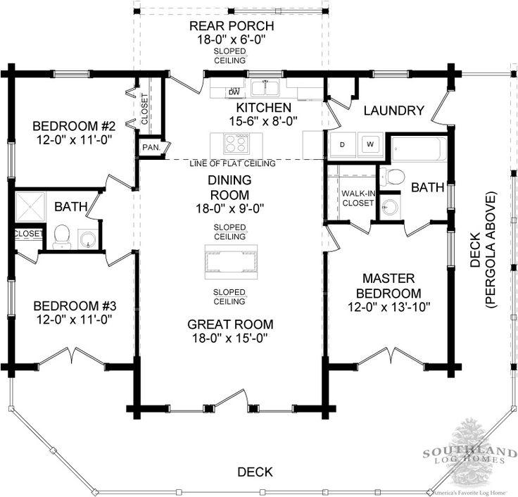 Elevated log cabin floor plan i like the french doors for 3 bedroom cabin floor plans