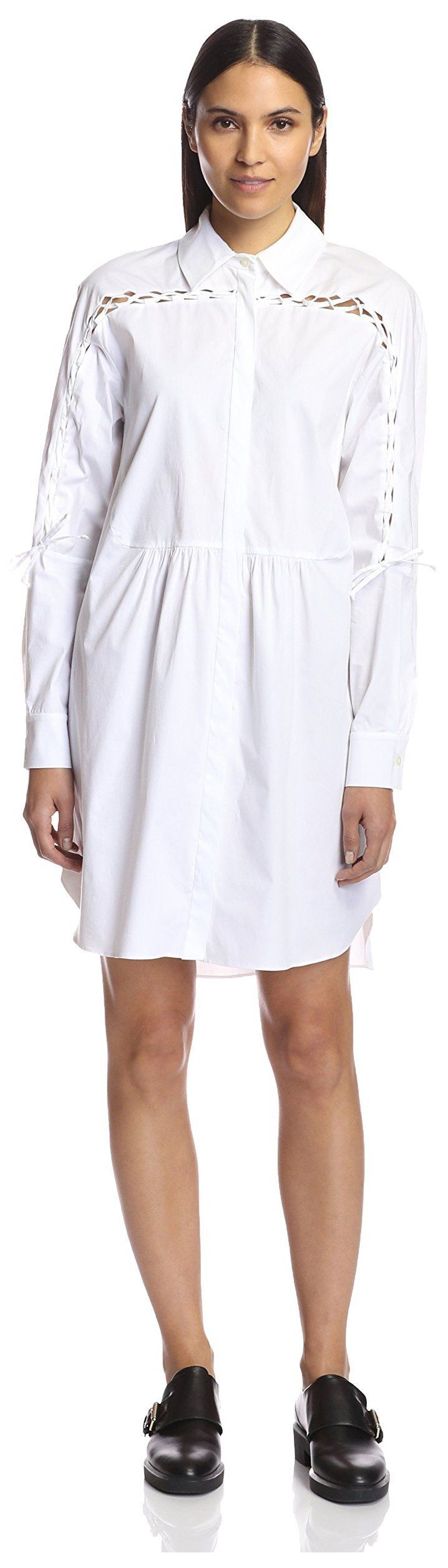 Thakoon Addition Women's Shirtdress with Lacing, White, 6 US.