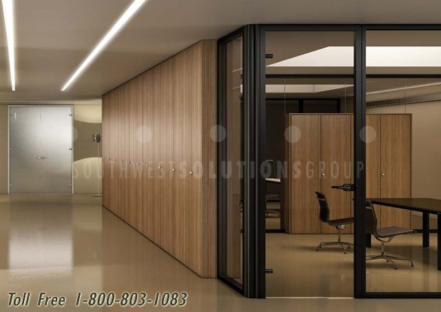 Demountable Partition Walls & Integrated Storage Cabinets   Solid Glass…