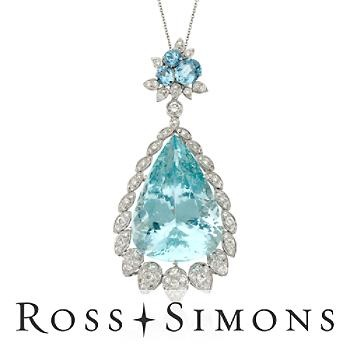C.1990 Vintage 77.65ct t.w. Aquamarine, Diamond Pendant Necklace